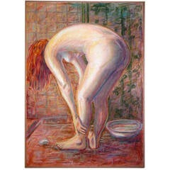 "Pastel of Nude Painting-, ""The Bather"""