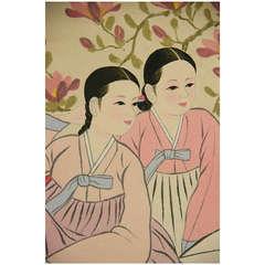 Korean  Girls Gouache
