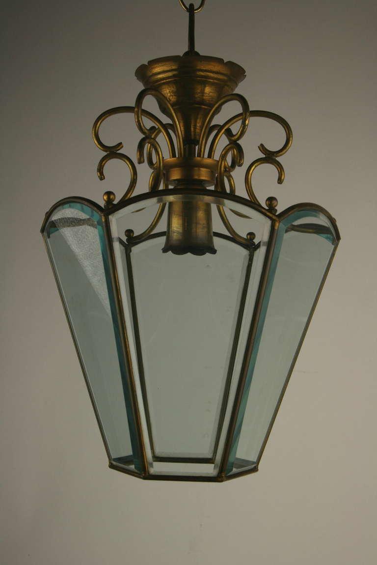 Mid-20th Century Italian Beveled Glass Italian Lantern For Sale