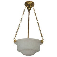 Cast Glass Inverted Dome Pendant Light