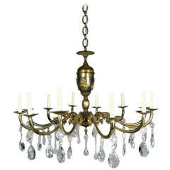 Oversized  Italian, Two-Tone Crystal and Bronze Chandelier