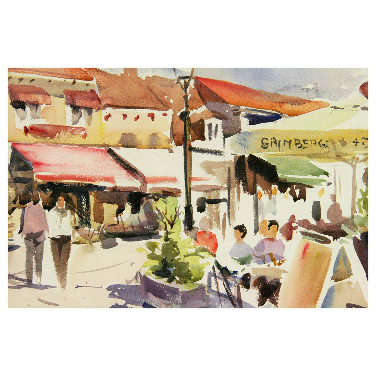 French Cafe Watercolor Painting
