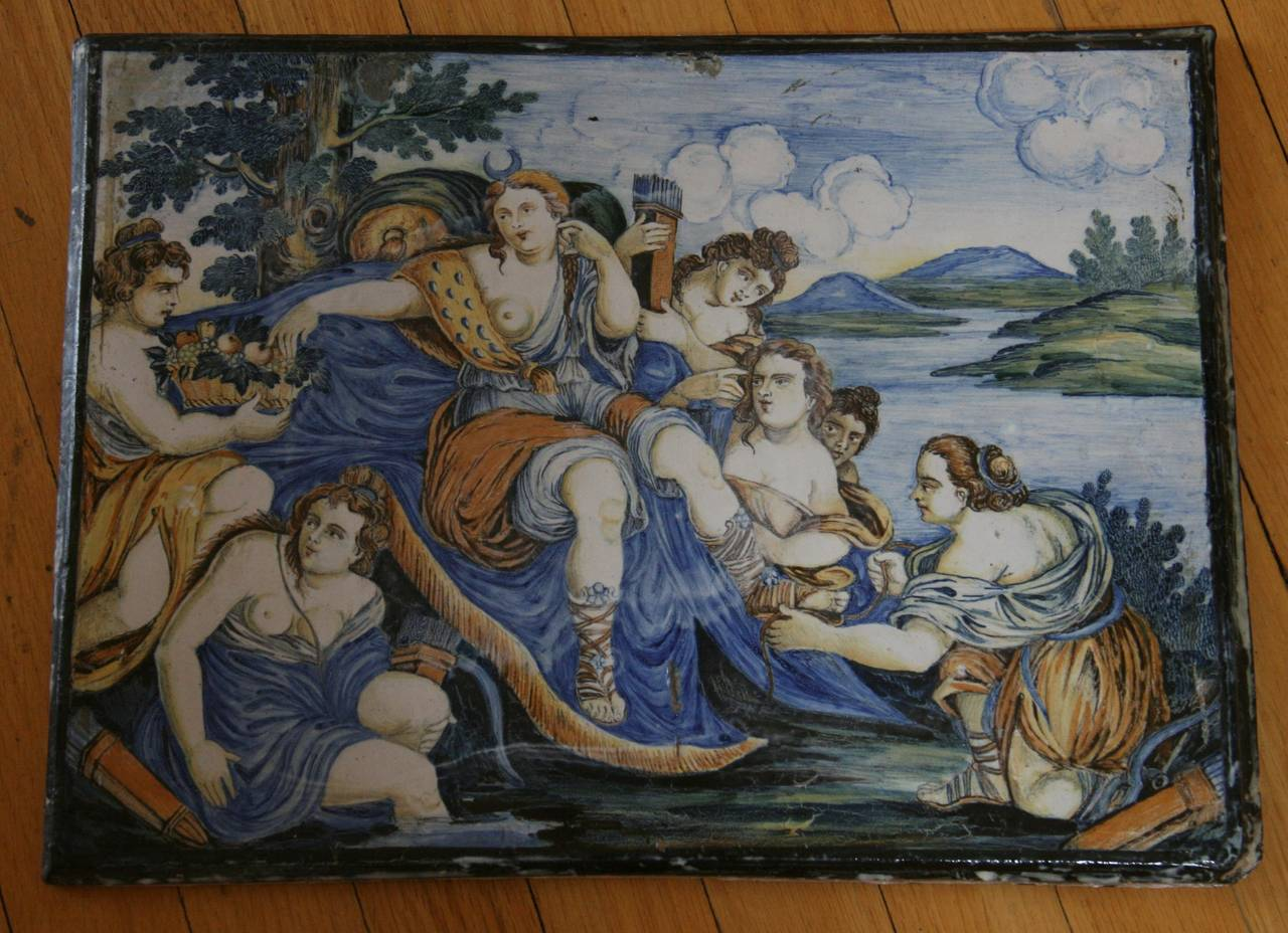 Large Italian Majolica Plaque For Sale 6