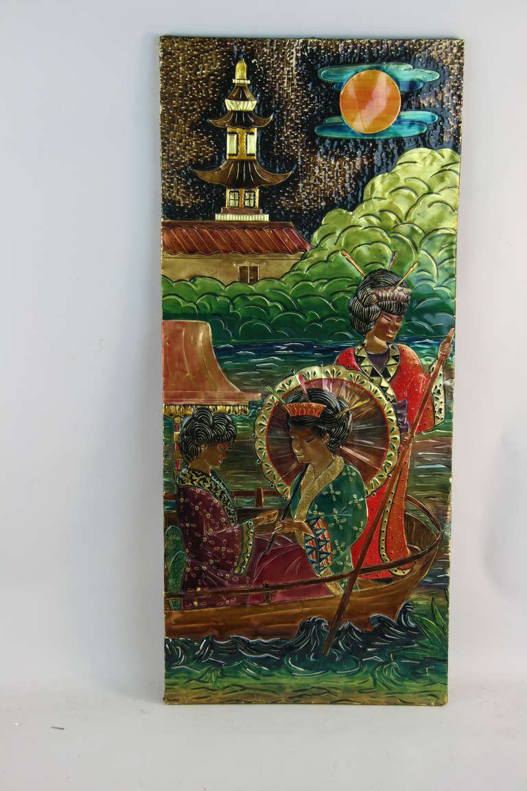 Hand painted oriental scene at 1stdibs for Hand painted oriental furniture
