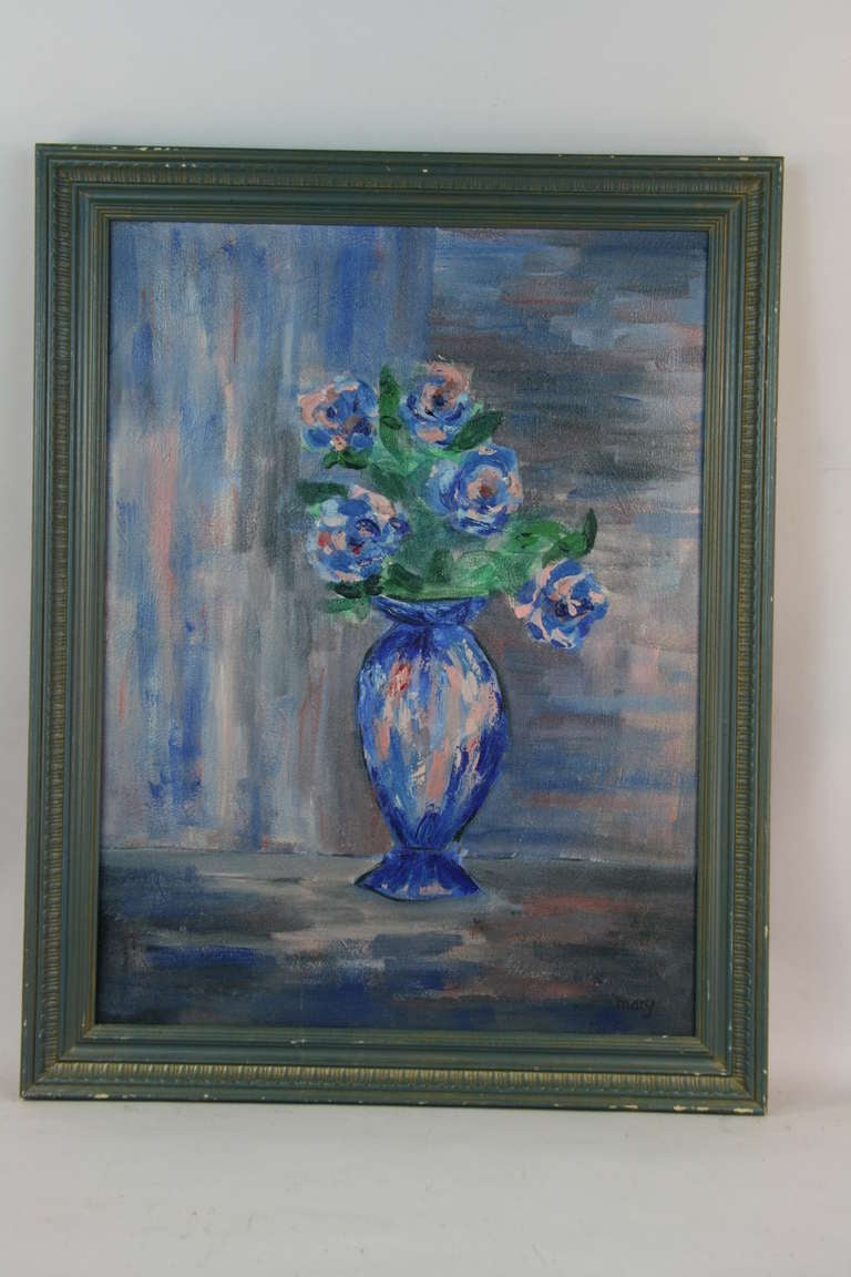 Blue flower arrangement at 1stdibs Painting arrangements on wall