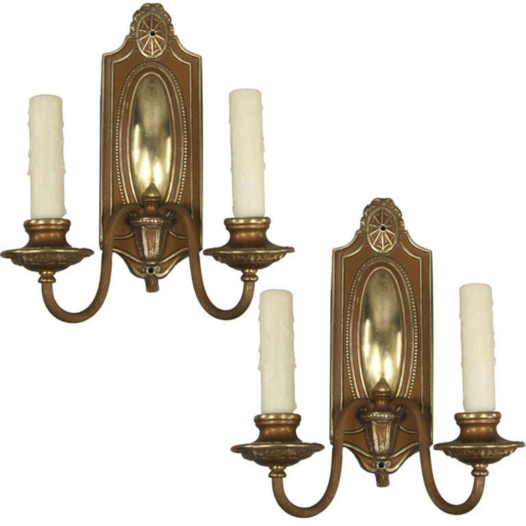 Pair of 1920s Double Arm Sconce at 1stdibs