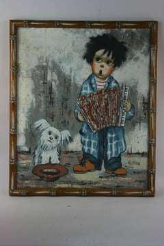 Boy & Dog With Accordian