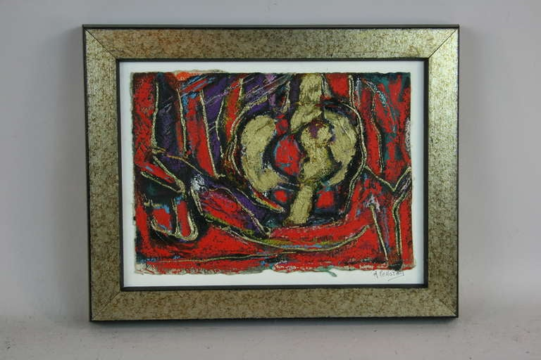5-2600  An abstract mixed media gold leaf - acrylic  painting on hand made paper in a wood frame.  Signed lower right by A Pellatoy.