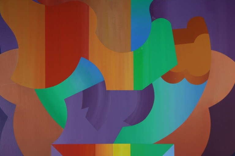 Late 20th Century Abstract Colored Puzzle Painting For Sale