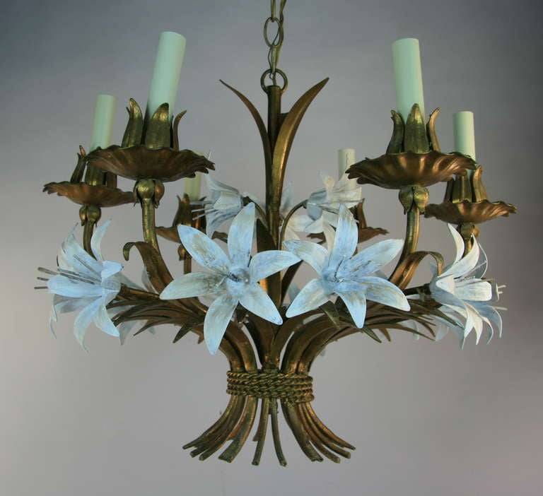 Mid-20th Century ON Sale  Gilt Tole Italian Flower Six-Light Chandelier For Sale