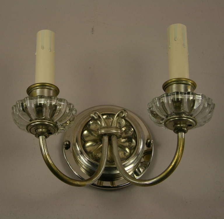 Pair of circa 1920s Two Light Sconces For Sale at 1stdibs