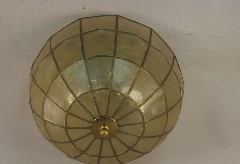 Dome shaped capiz shell flushmount at 1stdibs for Shell ceiling light fixtures