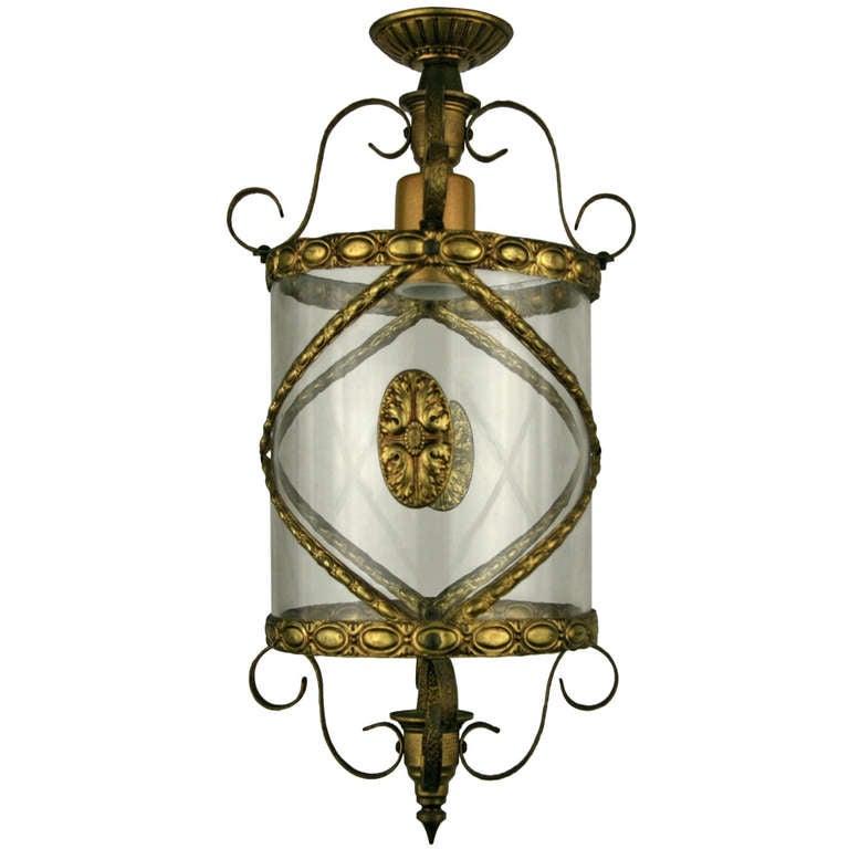 Mid Century Italian Bent Brass Lantern