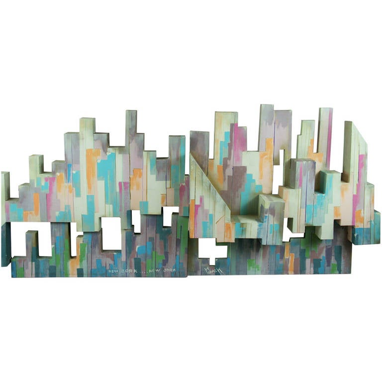 Mid-Century Art Deco Style Wall Sculpture, New York Skyline and ...
