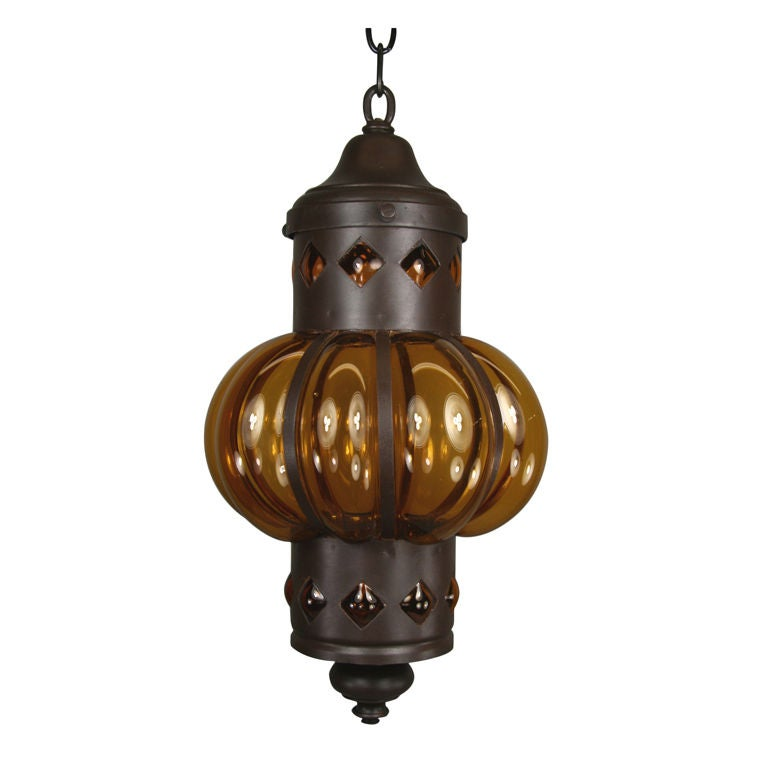 Exotic Metal Amber Glass Lantern Pendant At 1stdibs