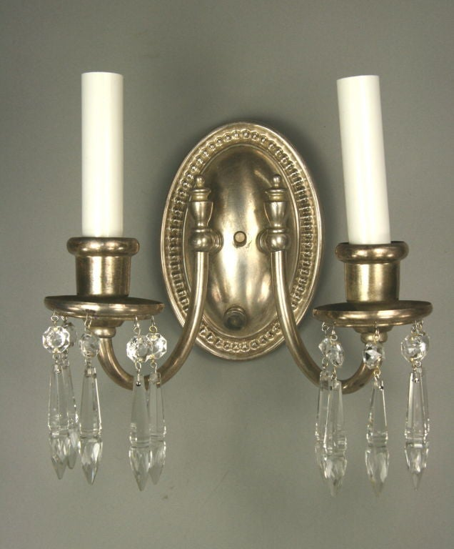 Pair Circa 1920 s Silverplated Crystal Double Arm Sconce at 1stdibs