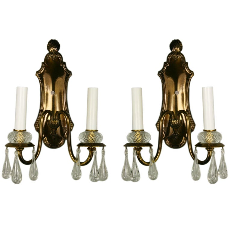 ON SALE Pair Double Arm Darkned Brass Crystal Sconce at 1stdibs
