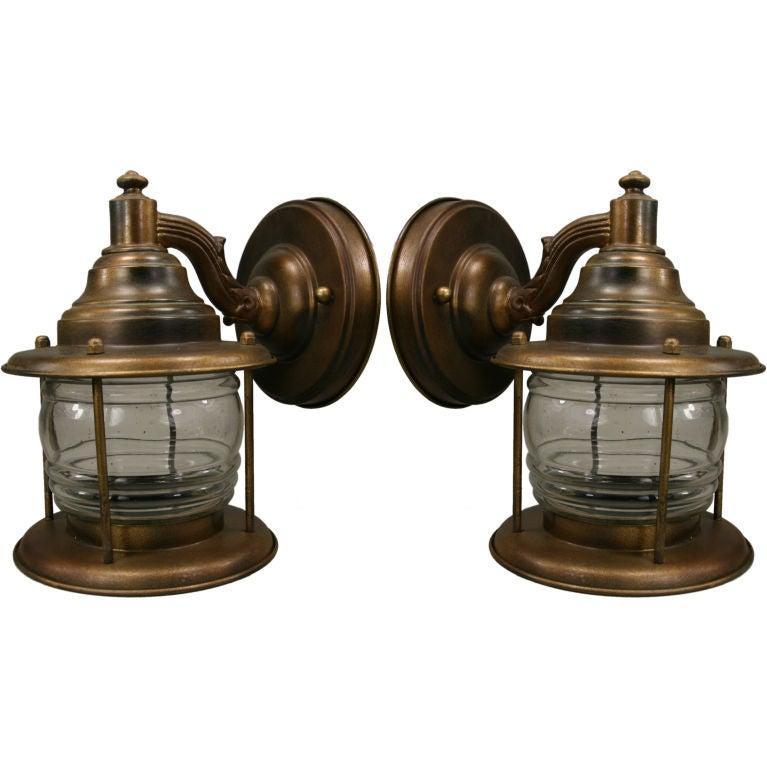 Nautical Brass Wall Sconces : Pair nautical lantern sconces at 1stdibs