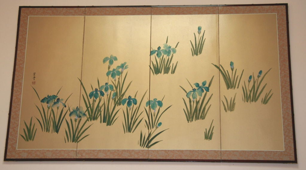 #5-584 A hand-painted silk over wood foldable screen.