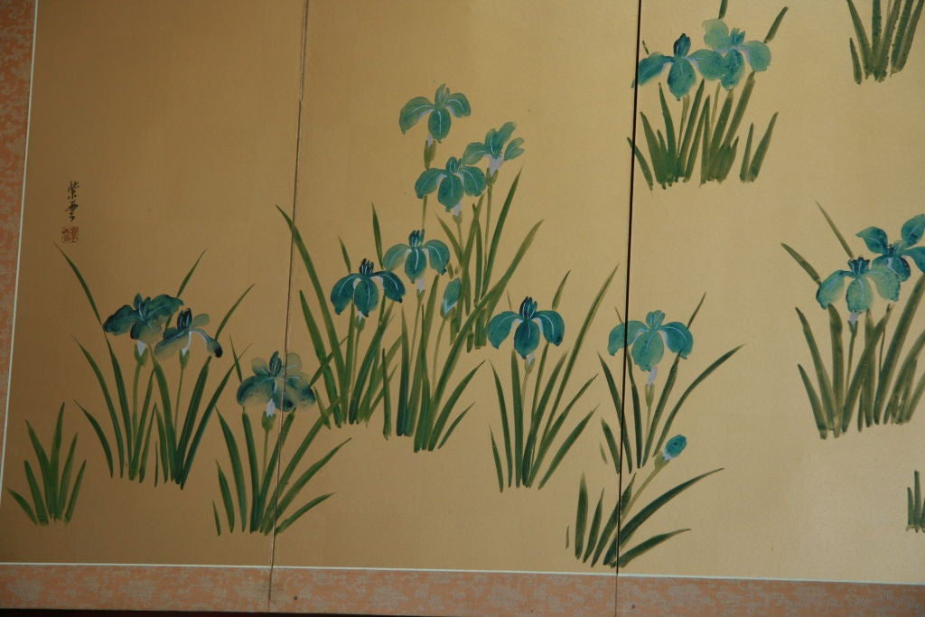 Asian Hand-Painted Panel In Good Condition For Sale In Douglas Manor, NY