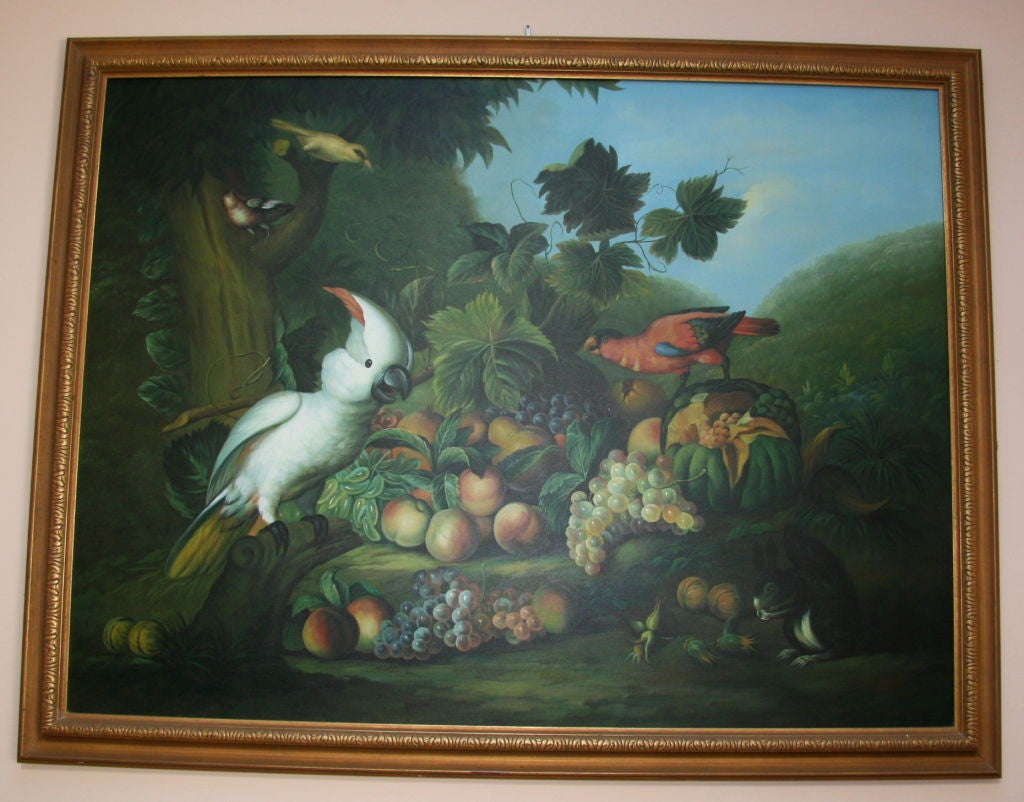 #5-580 finely executed, large-scale oil painting on canvas depicting a still life in a very vibrant colors. Giltwood frame.
