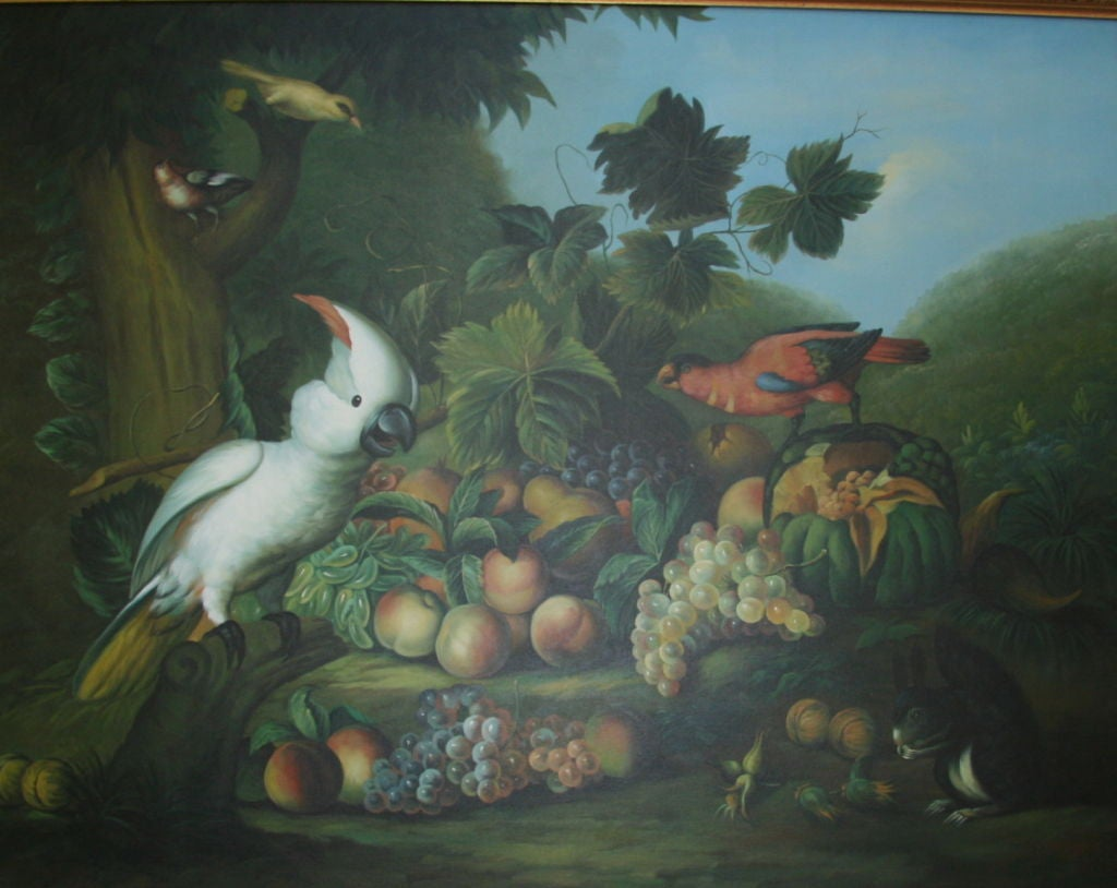 Still Life Parrots Oil Painting In Excellent Condition For Sale In Douglas Manor, NY