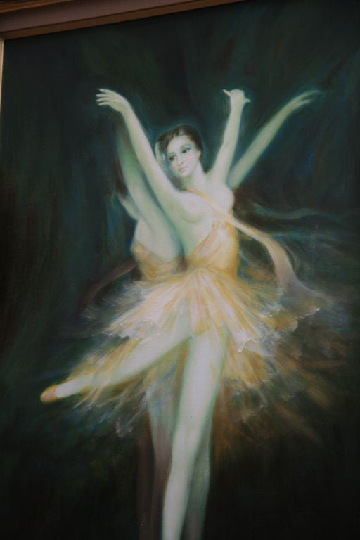 Ballerina Original Oil Painting In Good Condition For Sale In Douglas Manor, NY