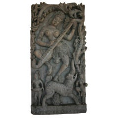 Lord Krishna Hand-Carved Architectural Fragment