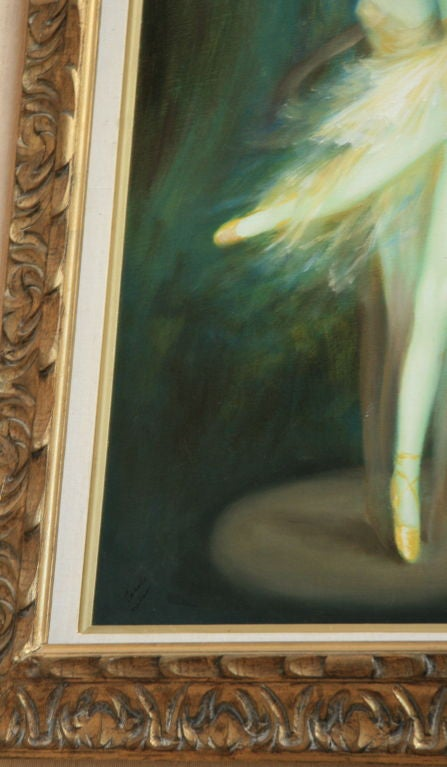 Mid-20th Century Ballerina Original Oil Painting For Sale