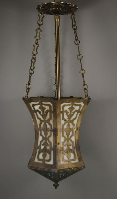 Arts and Craft Pierced Hanging Lantern In Good Condition For Sale In Douglas Manor, NY