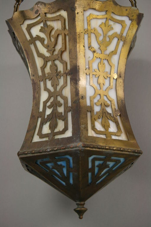 Mid-20th Century Arts and Craft Pierced Hanging Lantern For Sale