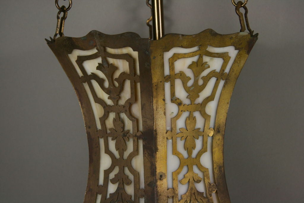 Brass Arts and Craft Pierced Hanging Lantern For Sale