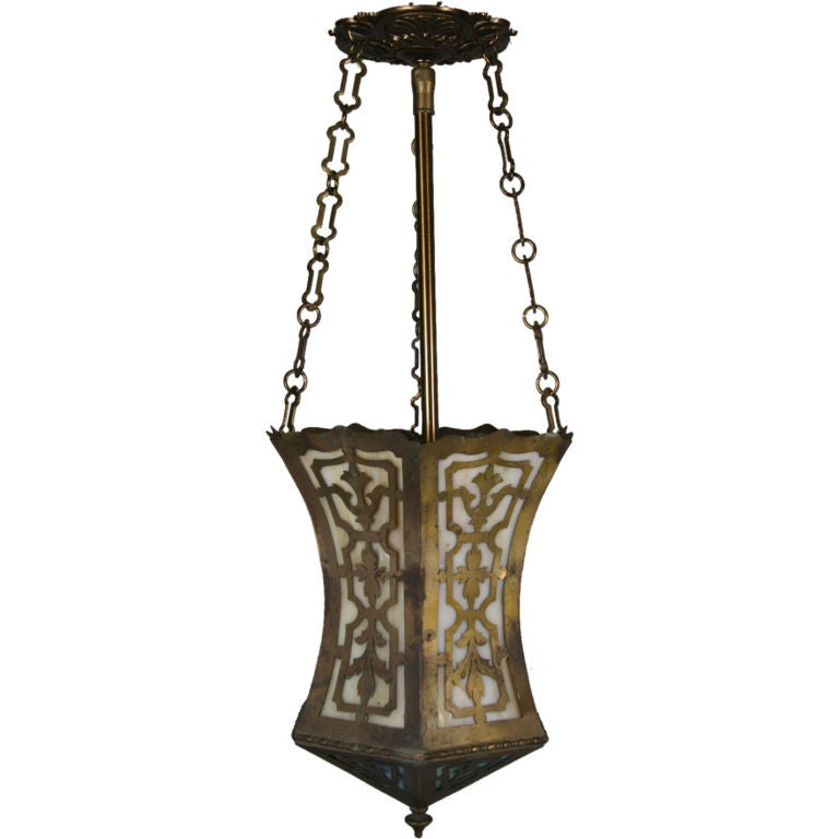 Arts and Craft Pierced Hanging Lantern For Sale
