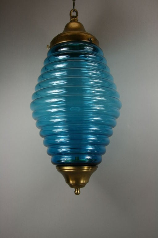 Italian Large Mid Century  Beehive Blue Glass Pendant For Sale