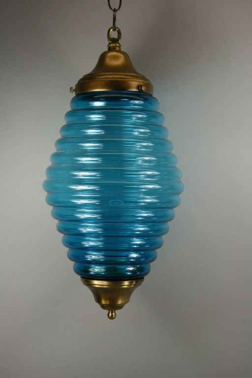 Large Mid Century  Beehive Blue Glass Pendant In Good Condition For Sale In Douglas Manor, NY