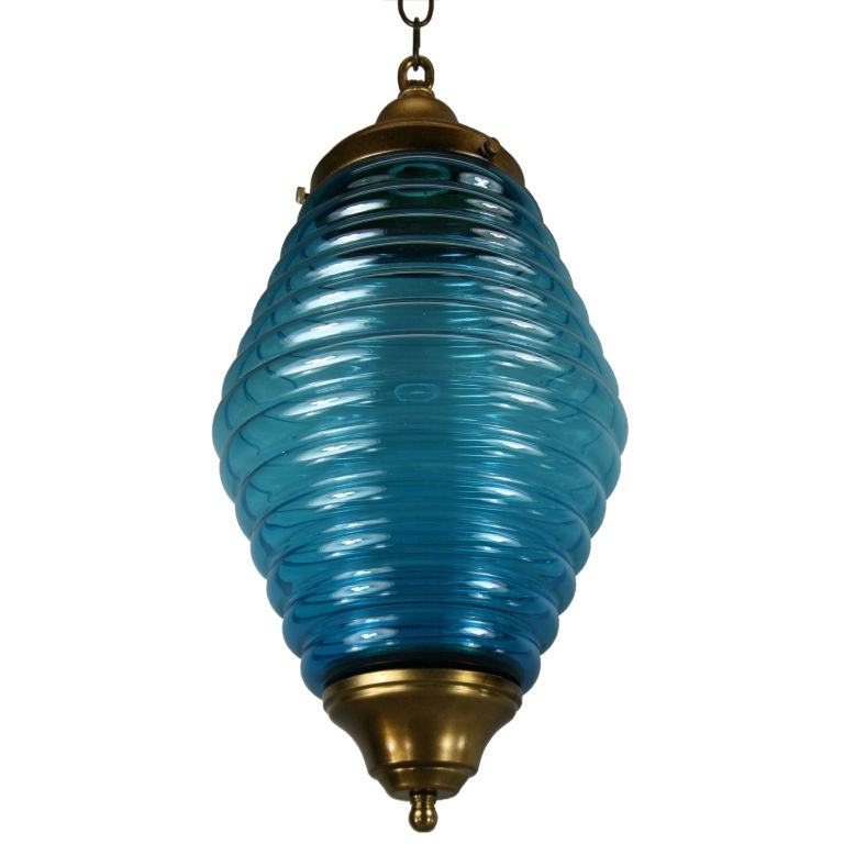Large Mid Century  Beehive Blue Glass Pendant For Sale