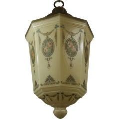 Large Octagonal Glass Pendant, circa 1920s