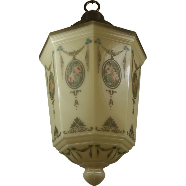 Large Octagonal Glass Pendant, circa 1920s For Sale