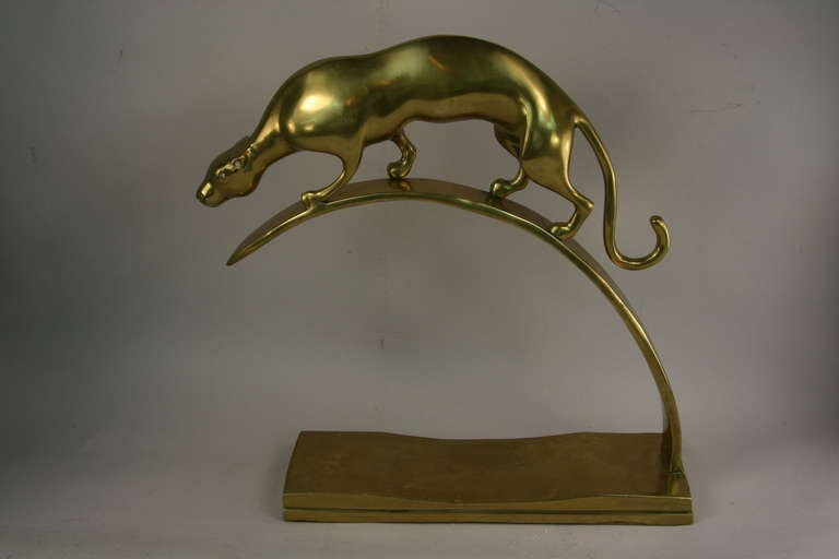 American Brass Panther Sculpture For Sale