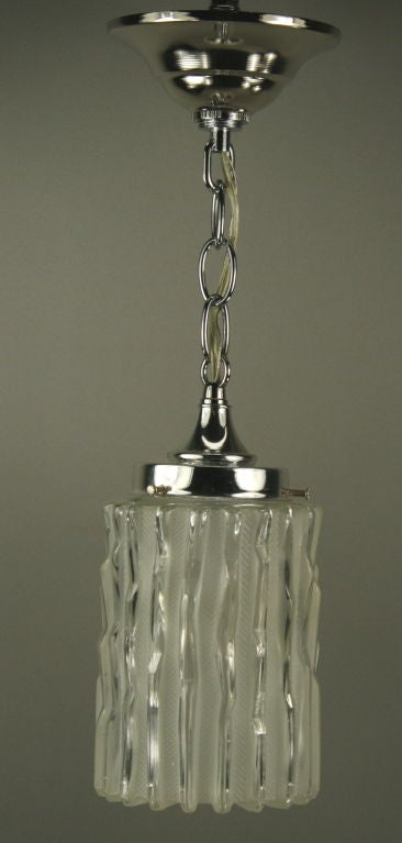Murano Mid Century  Glass Pendant(5 available) In Good Condition For Sale In Douglas Manor, NY