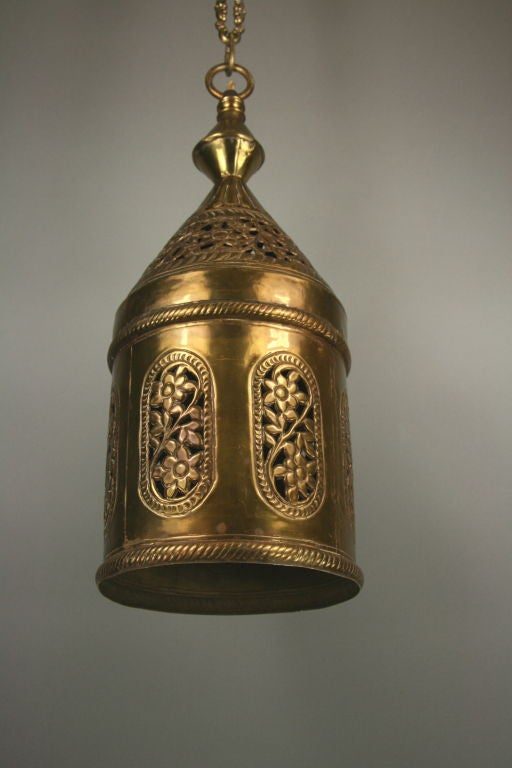 Pierced Brass Pendant In Good Condition For Sale In Douglas Manor, NY