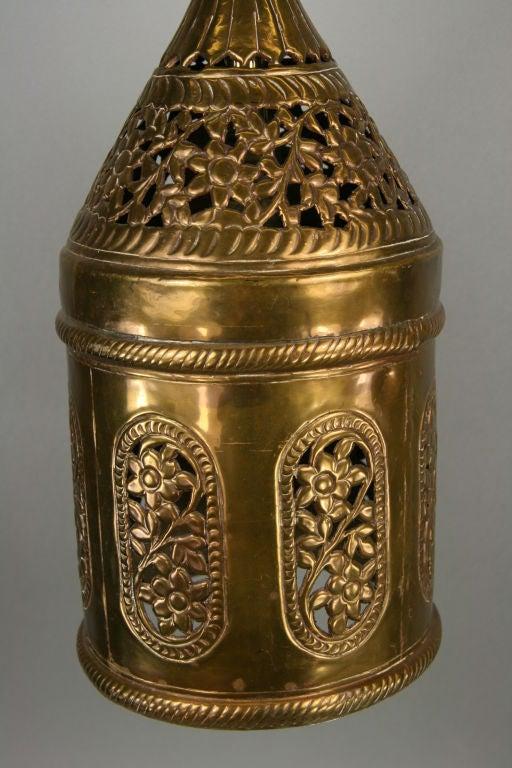 Mid-20th Century Pierced Brass Pendant For Sale
