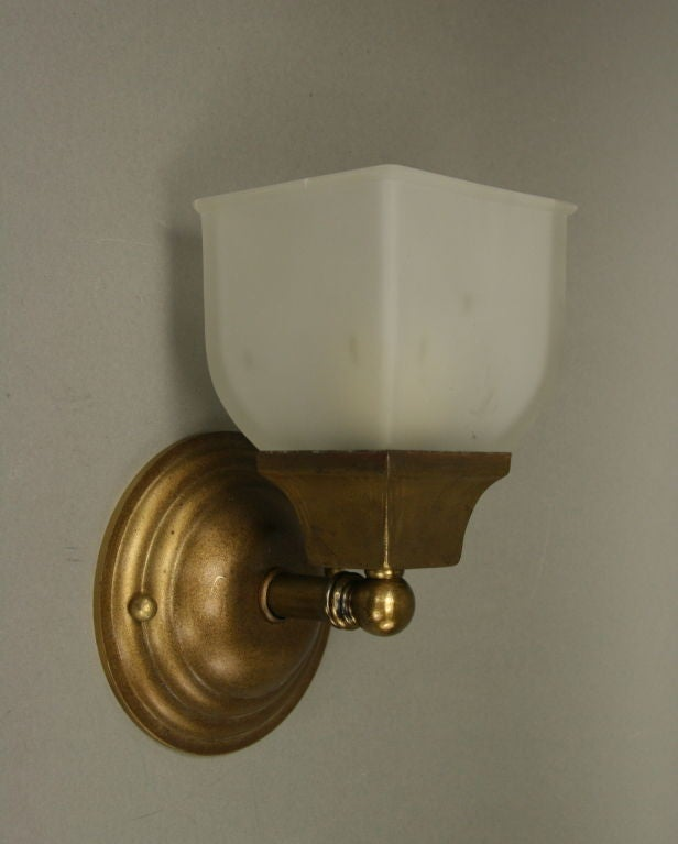 Wall Sconce Frosted Glass : Pair Single Arm Frosted Glass Sconce (two pair available) at 1stdibs