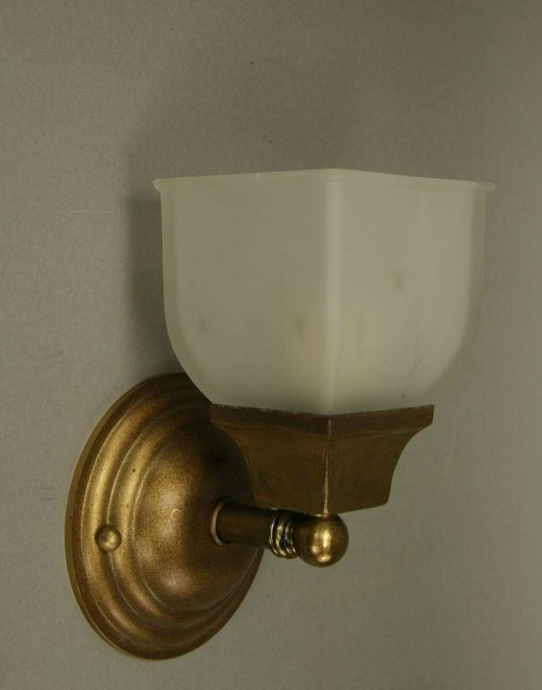 Pair Single Arm Frosted Glass Sconce (two pair available) at 1stdibs