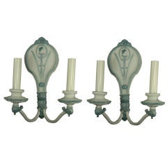 Pair of Double Arm Cameo Pale Blue Sconces