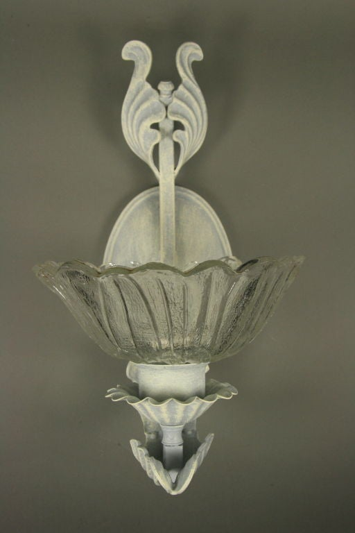 Painted Glass Wall Lights : Pair French Gray hand painted Flower Glass Sconce at 1stdibs