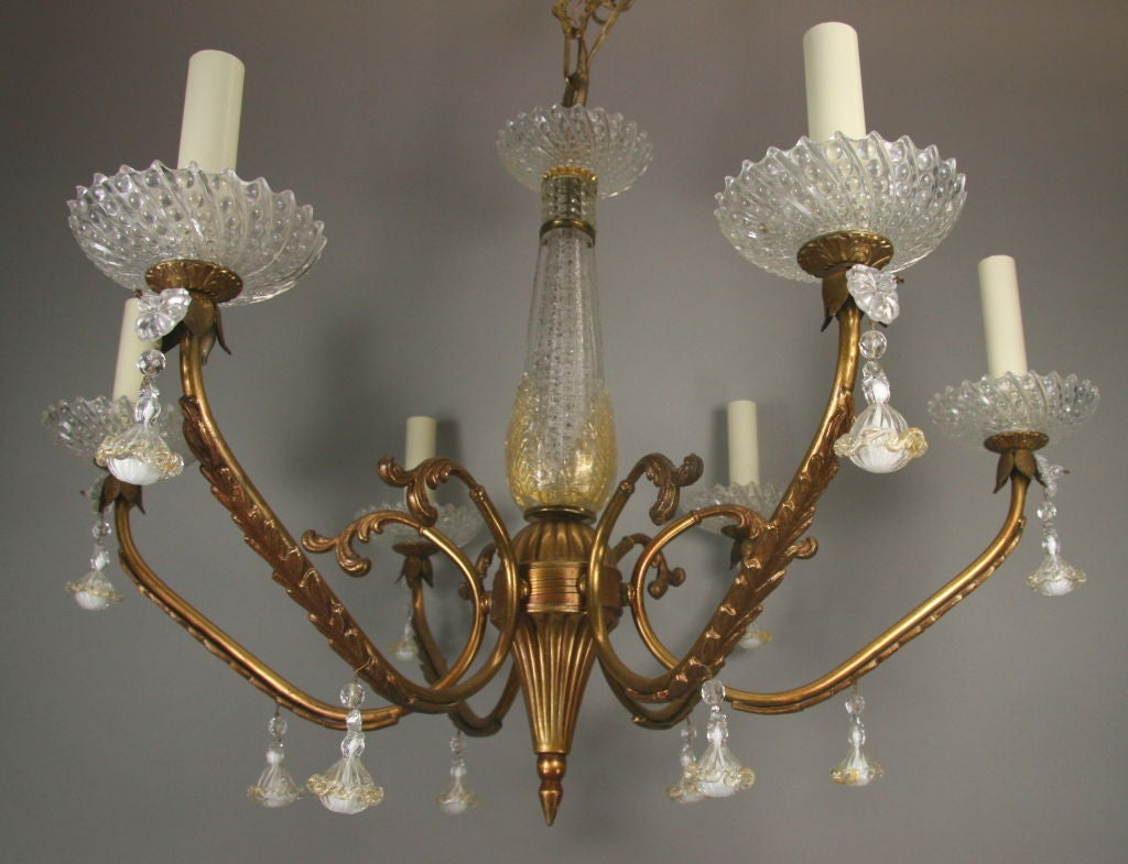 Italian ON SALE Murano Glass Gold Dust Brass Chandelier, circa 1940s For Sale