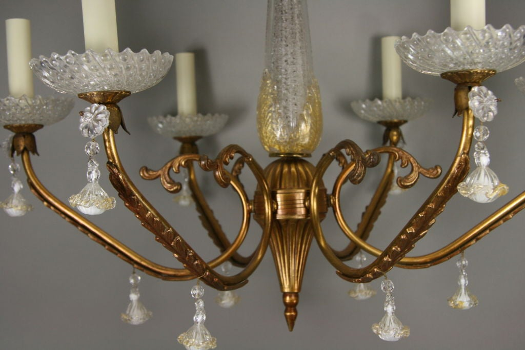 ON SALE Murano Glass Gold Dust Brass Chandelier, circa 1940s In Good Condition For Sale In Douglas Manor, NY