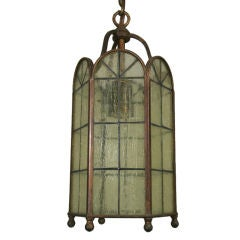 Stained Glass Hexagonal Lantern, circa 1930s