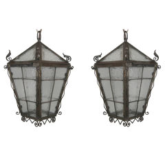 Arts & Craft Hand-Forged Lantern(1 available)